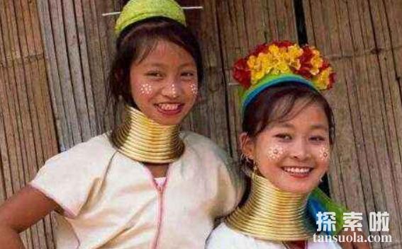 世界上最长的脖子,缅甸长颈族人的脖子,最长达70厘米(图4)