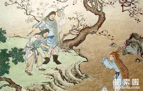 二十四孝之鹿乳奉亲的故事,郯子混入鹿群挤鹿乳奉亲(图1)