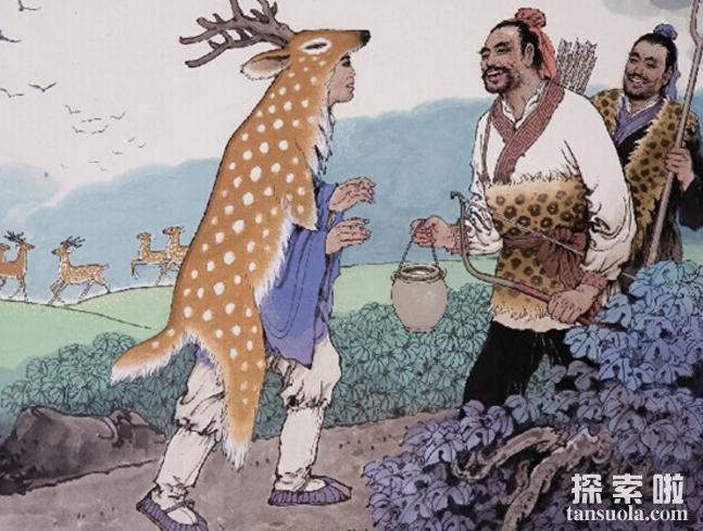 二十四孝之鹿乳奉亲的故事,郯子混入鹿群挤鹿乳奉亲(图2)