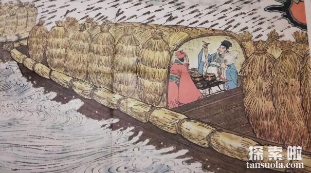 诸葛亮草船借箭的故事,草船诱敌借得十万支箭(图4)