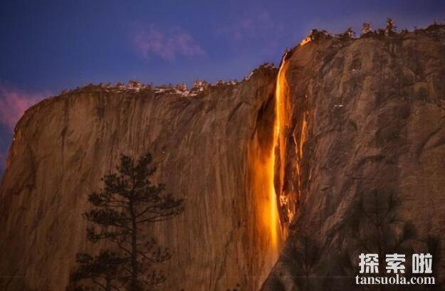 罕见自然奇观:火瀑布,609米的橘红色大瀑布(1)