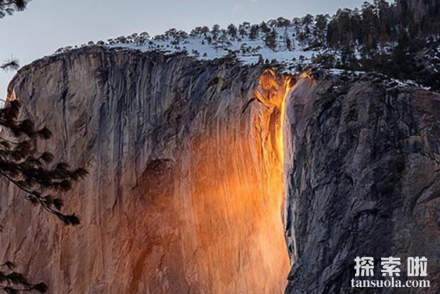 罕见自然奇观:火瀑布,609米的橘红色大瀑布(4)