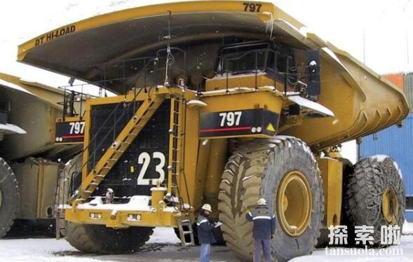 世界上最大的矿车有多大,卡特彼勒797矿车(载重400吨)
